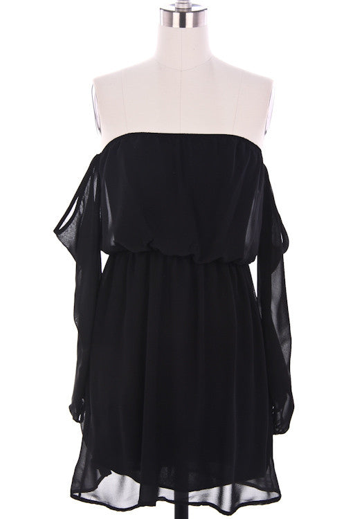 Wisteria Lane Off the Shoulder Dress - Black - Daily Chic