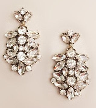 Astor Cluster Drop Earrings - Crystal