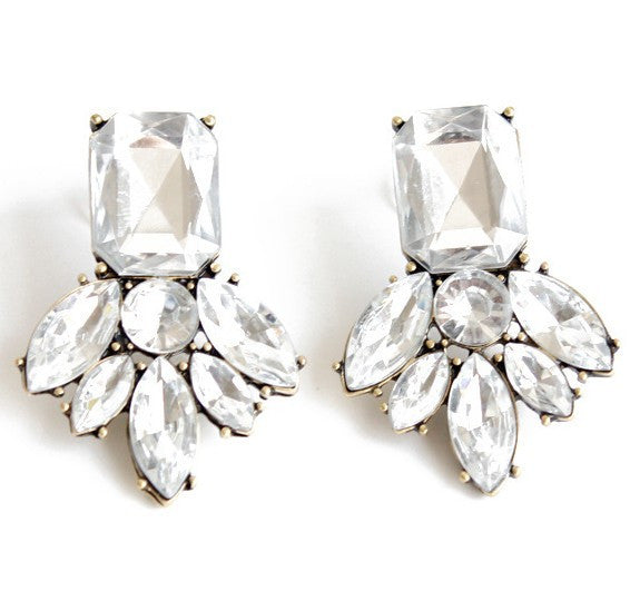 Alston Cluster Drop Earrings - Crystal