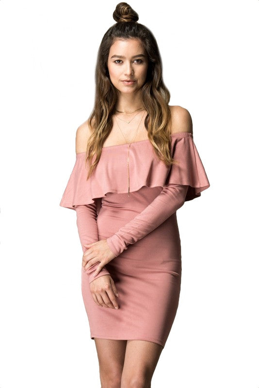 Simmi Off the Shoulder Ruffle Dress - Mauve - Daily Chic