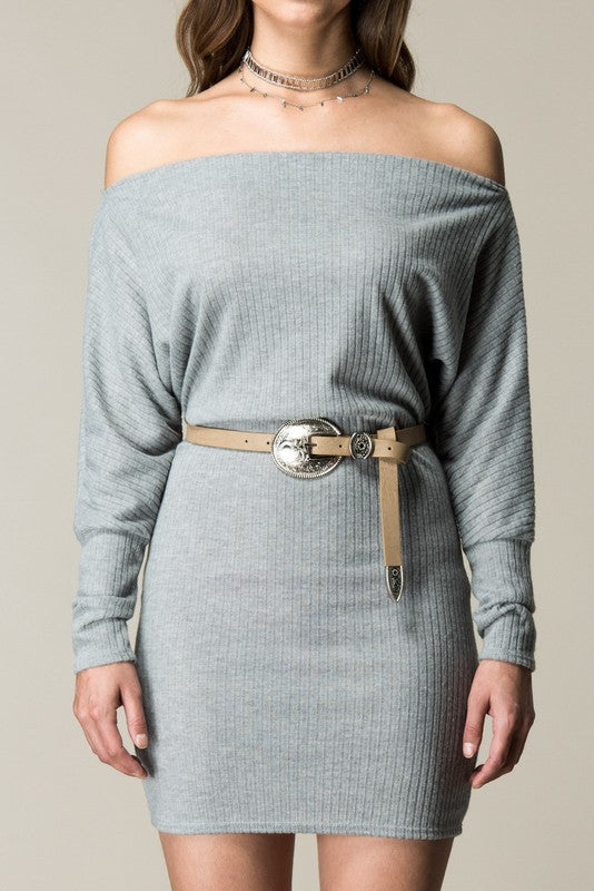 Tucson Off the Shoulder Sweater Dress - Heather Grey