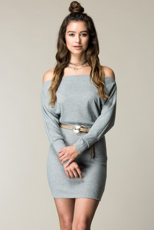 15485cf55e74 Tucson Off the Shoulder Sweater Dress - Heather Grey – Daily Chic