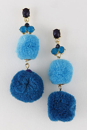 Rossi Pom Pom Earrings - Blue - Daily Chic