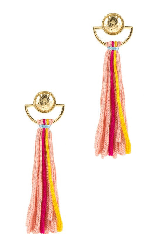 Acapulco Fringe Tassel Earrings - Peach + Multi