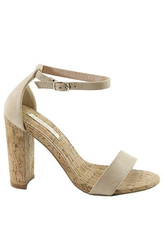 Anson Open Toe Suede Heels - Tan