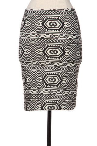 Southwest Quest Tribal Print Skirt - Black + Cream - Daily Chic