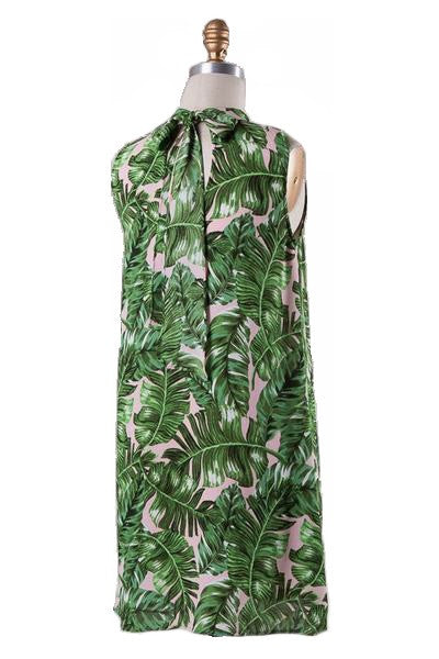 Tenley Tie Neck Palm Print Dress - Blush + Multi - Daily Chic
