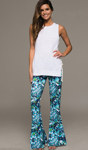 Seraphina Print Flare Pants - Blue + Multi - Daily Chic