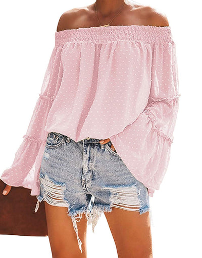 Sweet Pea Off The Shoulder Polka Dot Bell Sleeve Top - White, Rose, Blue, Pink or Sage - Daily Chic