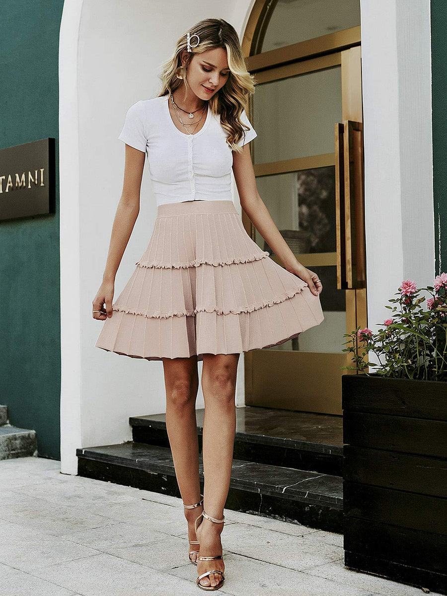 Stassi Ruffle A Line Mini Skirt - Light Pink - Daily Chic