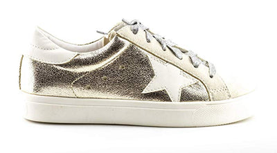 Shine Super Star Sneakers - Gold + Metallic Silver *PRE ORDER* - Daily Chic