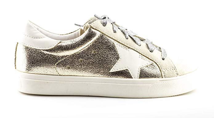 Shine Super Star Sneakers - Gold + Metallic Silver *PRE ORDER SHIPS 10/25* - Daily Chic