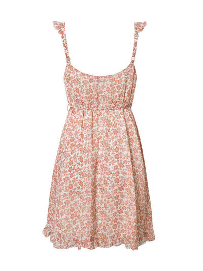 Maui Floral Ruffle Dress - Coral - Daily Chic