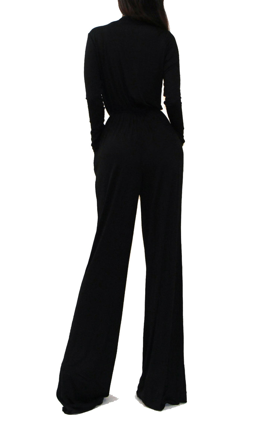Uptown Wrap Top Wide Leg Long Sleeve Jumpsuit - Black