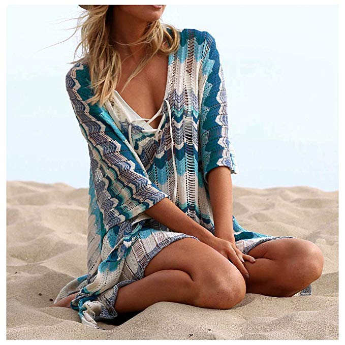 Wanderer Bikini Swimsuit Cover Up - Colorful Cyan - Daily Chic