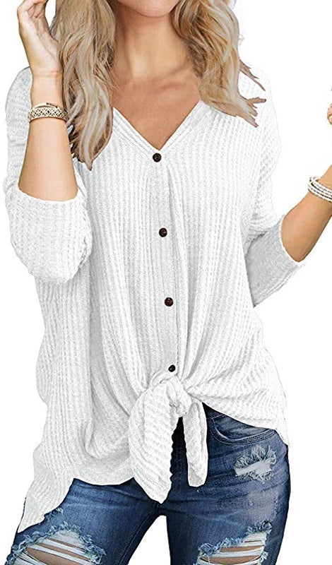 Winnie Waffle Knit Tie Knot Tunic Top - Grey, White, Khaki - Daily Chic