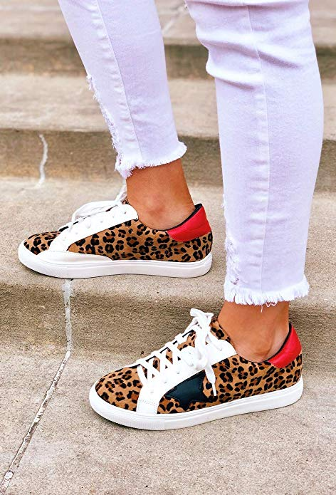 Shine Super Star Sneakers - Leopard + Red *PRE ORDER* - Daily Chic