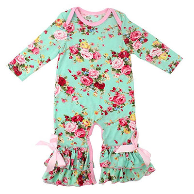 Spring Showers Floral Ruffle Onesie Romper - Pink or Mint - Daily Chic