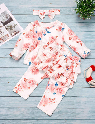 Rosie Floral Print Ruffle Pants + Top + Headband 3PCS Set - Daily Chic