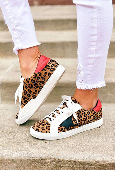 Shine Super Star Sneakers - Leopard + Red *PRE ORDER SHIPS 9/25* - Daily Chic