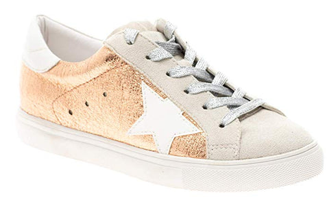 Shine Super Star Sneakers - Rose Gold + Metallic Silver *PRE ORDER SHIPS 5/15* - Daily Chic