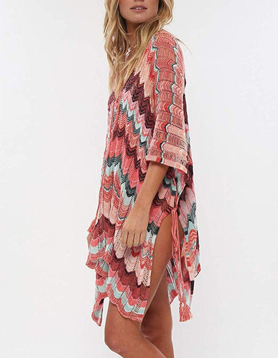 Wanderer Bikini Swimsuit Cover Up - Multi Red - Daily Chic