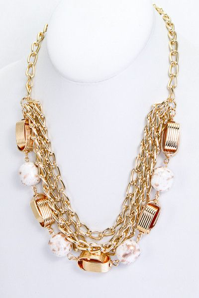 Très Chic Chain Necklace - Gold Flakes