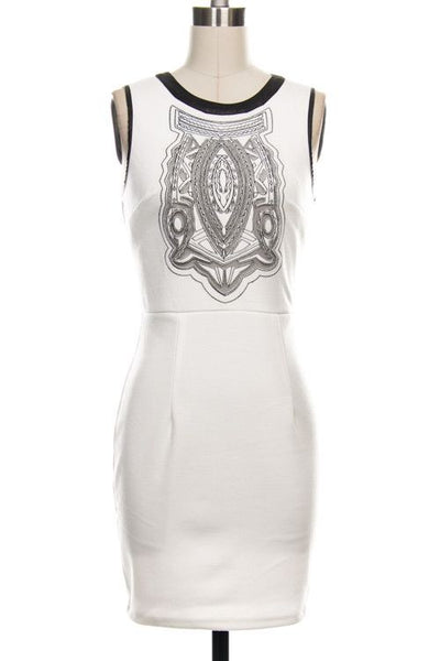 Desert Dawn Embroidered Leather Accent Dress - White - Daily Chic