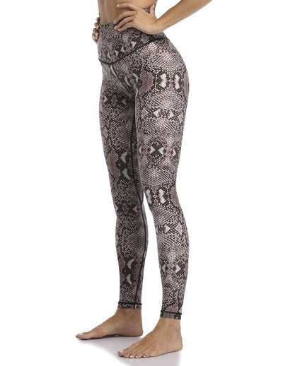 Snake Print High Waisted Full-Length Leggings - Khaki - Daily Chic