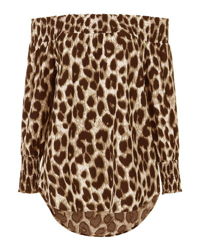 Tessa Off Shoulder Leopard Blouse - Multi - Daily Chic