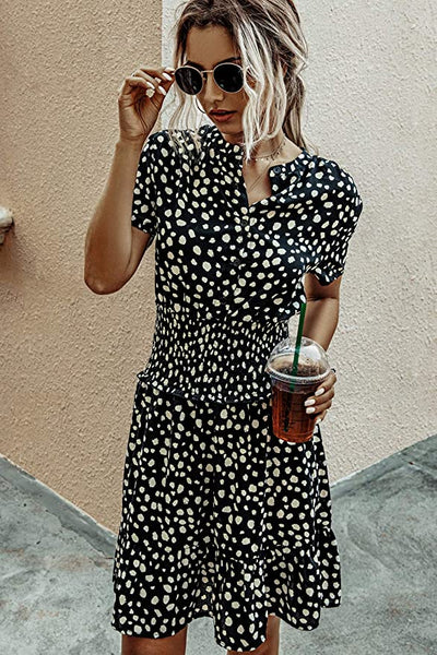 Diana Smocked Polka Dot Dress - Black - Daily Chic