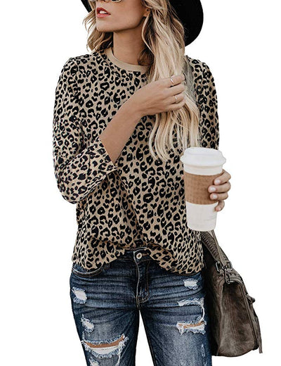 Leoni 3/4 Sleeve Leopard Print Top - Multi - Daily Chic