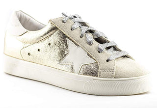 Shine Super Star Sneakers - Gold + Metallic Silver - Daily Chic