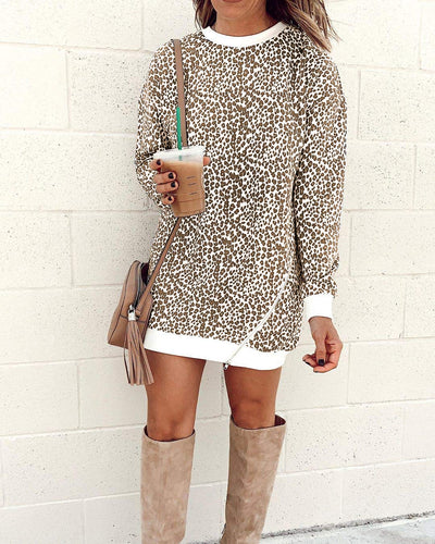 Cat's Meow Leopard Print Sweatshirt Tunic Dress - Brown - Daily Chic