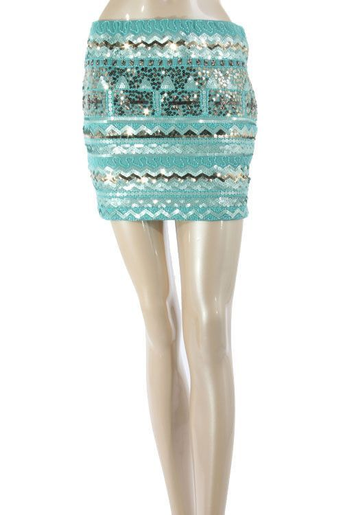 Pippa Sequin Skirt- Mint + Silver