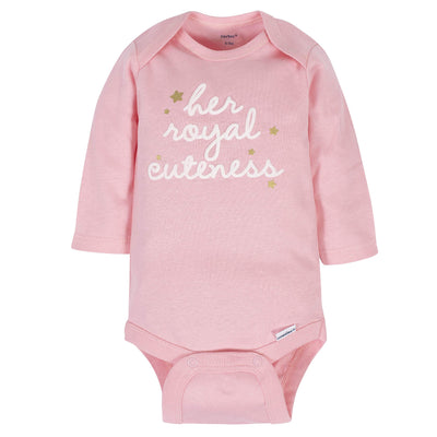 Royal Baby Girls' 6-Pack Long-Sleeve Onesies Bodysuit, Castle, 0-3 Months - Daily Chic