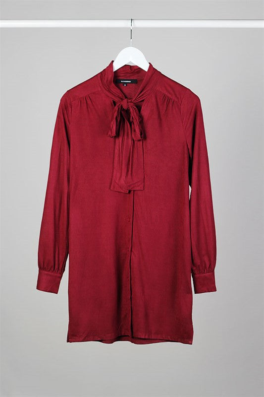 Mademoiselle Bow Neck Shirtdress - Burgundy - Daily Chic