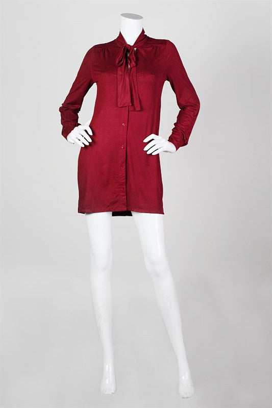 Mademoiselle Bow Neck Shirtdress - Burgundy