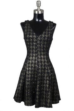 Uptown Bound Metallic Houndstooth Dress - Black - Daily Chic