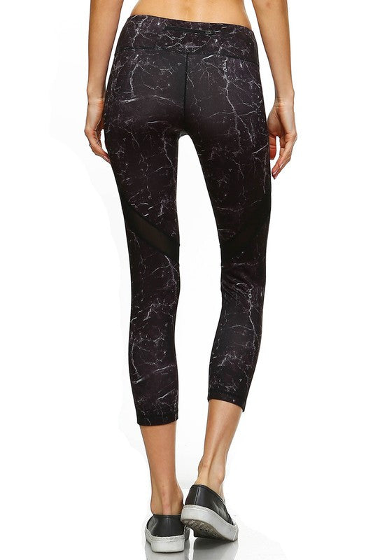 Lightening Strikes Mesh Panel Yoga Capri - Print
