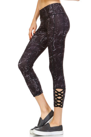 Lightening Strikes Crisscross Ankle Yoga Capri - Print - Daily Chic