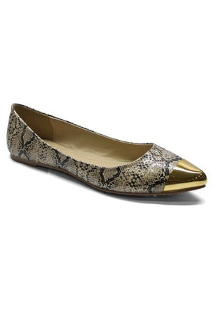 Natalie Gold Tip Flats - Snake - Daily Chic