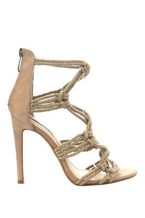 Florella Rope Accent Heels - Nude - Daily Chic