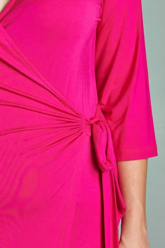 Of My Dreams Wrap Dress - Pink - Daily Chic