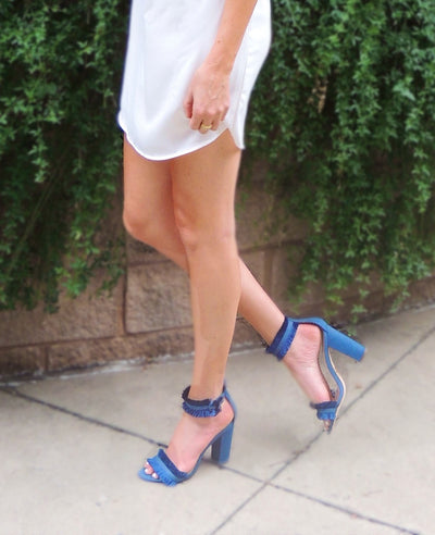 Napa Valley Fringe Accent Heeled Sandal- Denim Blue - Daily Chic