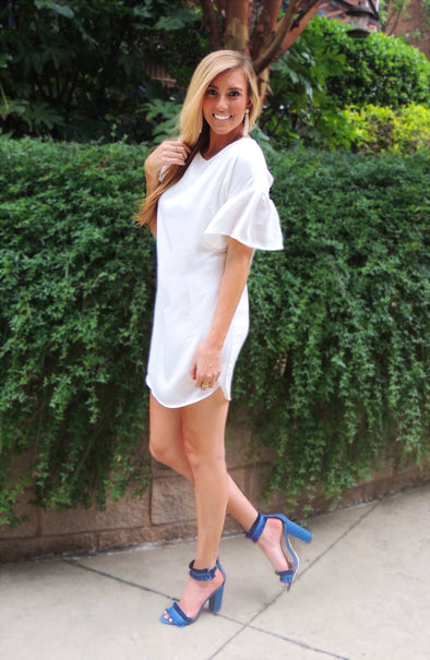 Grace Flutter Sleeve Dress - White RESTOCKED! - Daily Chic