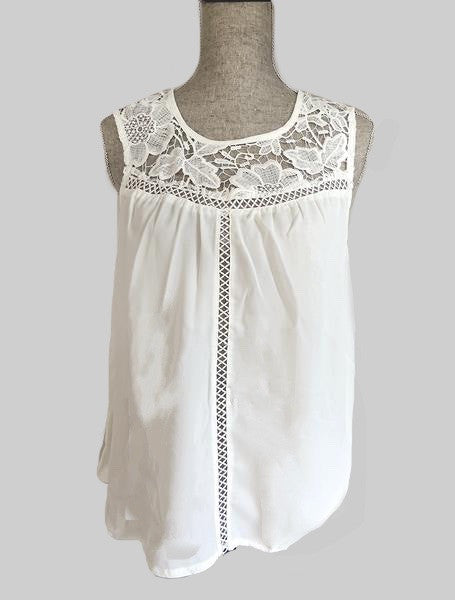 Victoria Crochet Accent Lace Up Back Blouse- White