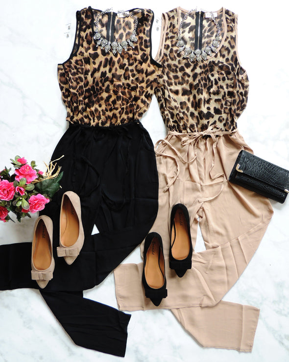 Kendall Leopard Jumpsuit- Tan + Multi-Bottoms-Daily Chic-Daily Chic