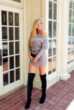 Tucson Off the Shoulder Sweater Dress - Heather Grey - Daily Chic