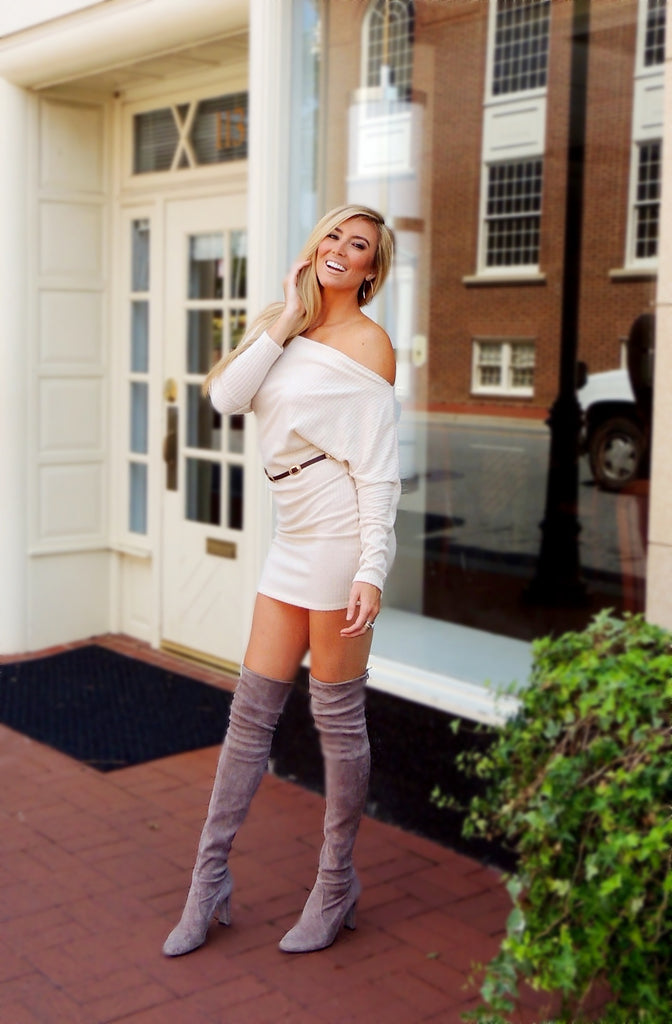 Tucson Off the Shoulder Sweater Dress - Tan
